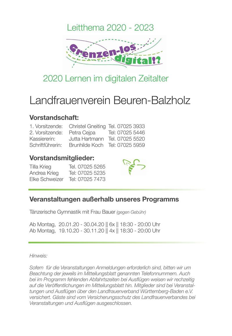 Landfrauen Beuren Programm 2020